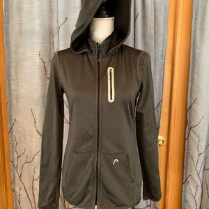 HEAD L zippered hooded athletic coat charcoal …